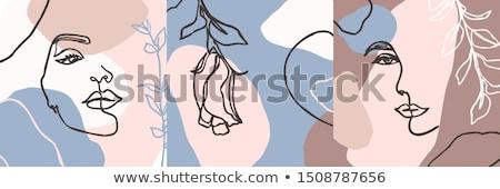 закрывается цветок набор рисунок линия искусства Сток-фото © ESSL
