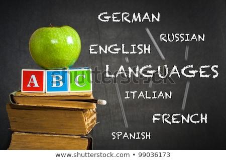 Okula geri İtalyan dil kırtasiye kitaplar Stok fotoğraf © make