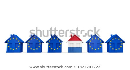 House with flag of netherlands in a row of EU flags Stock photo © MikhailMishchenko