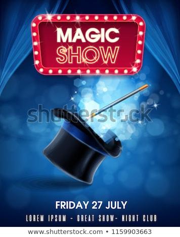 Goochelaar magie show illustratie leuk bunny Stockfoto © adrenalina