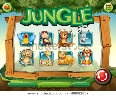 game template with monkeys in forest stock photo © colematt