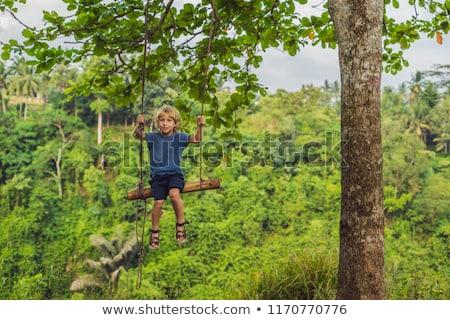 Ragazzo swing piedi bali albero erba Foto d'archivio © galitskaya