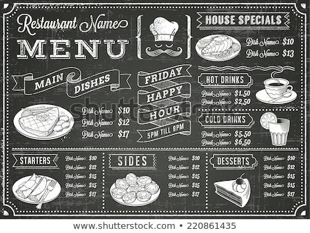 Stockfoto: Biefstuk · menu · element · Blackboard · illustratie · voedsel