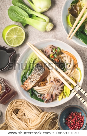 Foto stock: Asian noodles soba with various ingredients