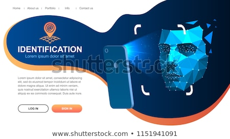 facial recognition concept face id face recognition system smartphone with human head and scannin stock photo © ikopylov