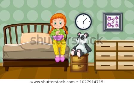 Little girl and panda doll in bedroom Stock photo © colematt