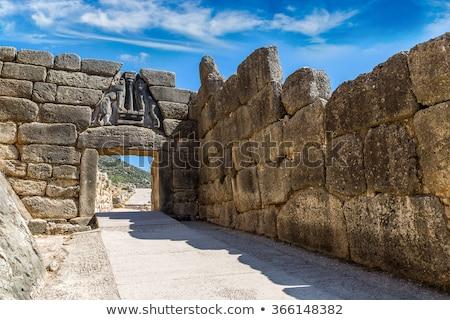 Lion porte Grèce principale entrée bronze Photo stock © borisb17