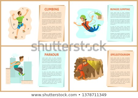 person in cave speleotourism activity vector stock photo © robuart