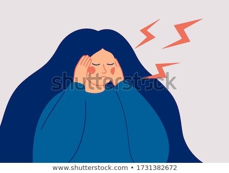 Dziewczyna symptom twarz niepokój ilustracja Zdjęcia stock © lenm