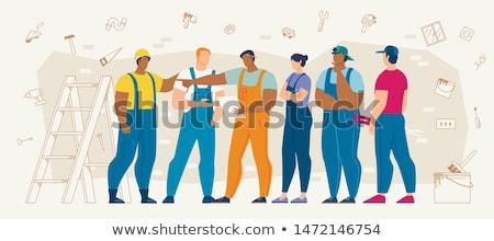 Trabajador de la construcción pensando casco blanco hombre moda Foto stock © vladacanon