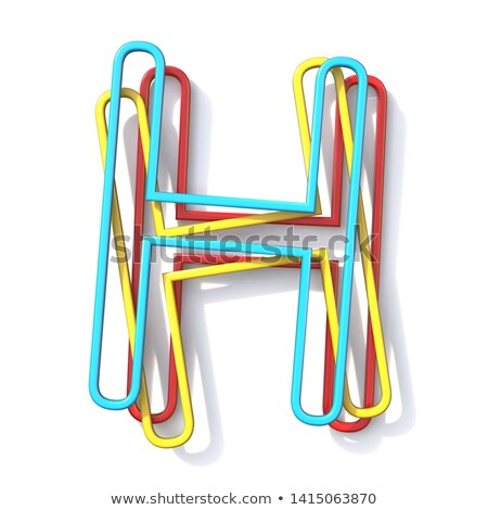 Yellow outlined font letter H 3D Stock photo © djmilic