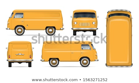 Vintage yellow minivan vector mockup Stock photo © YuriSchmidt