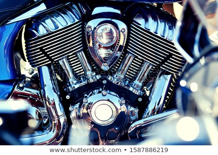 Chrome motorcycle engine close up view, full frame background Stock photo © amok