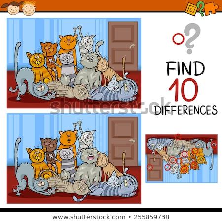 Diferenças jogo cômico gatos grupo desenho animado Foto stock © izakowski