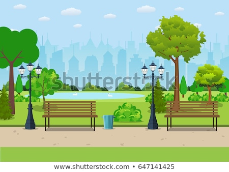 Wooden Bench and Outdoors Lantern Light Vector Stock photo © robuart