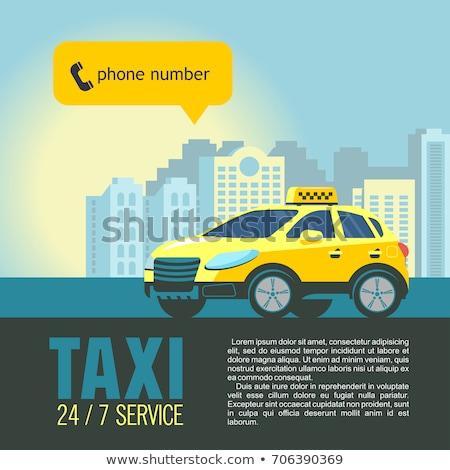 Online taksówką ikona wektora cienki line Zdjęcia stock © pikepicture