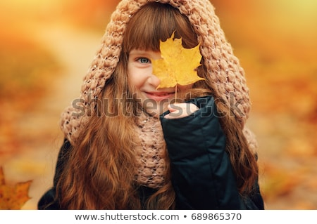 愛らしい 女の子 秋 森林 笑顔 電話 ストックフォト © Lopolo
