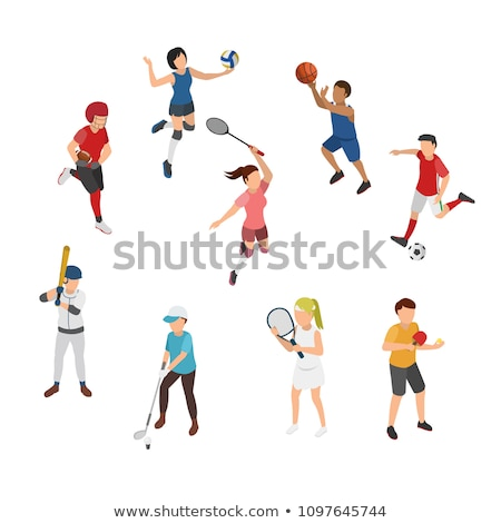 Volleyball Sport Game Isometric Icons Set Vector Stock photo © pikepicture