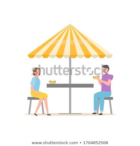 люди еды Hot Dog зонтик палатки вектора Сток-фото © robuart