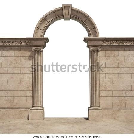 Koridor kemer taş sütunlar uzun boş Stok fotoğraf © vapi