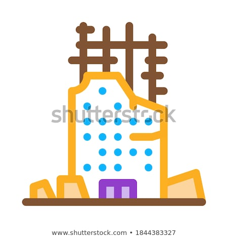 Ineenstorting huis stichting icon vector schets Stockfoto © pikepicture