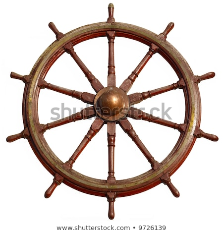 Large wooden ship wheel, isolated on white. Stock photo © latent