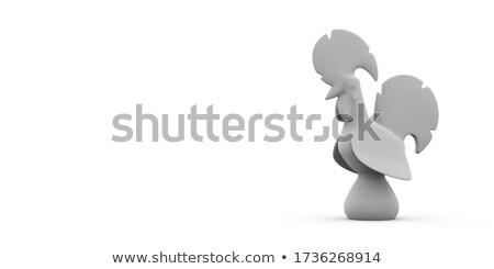 Haan speelgoed hout zitten geïsoleerd natuur Stockfoto © sahua