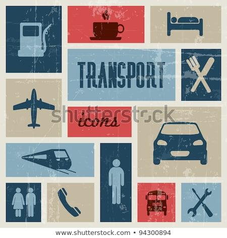 szállítás · gyűjtemény · poszter · autók · villamos · vonat - stock fotó © orson