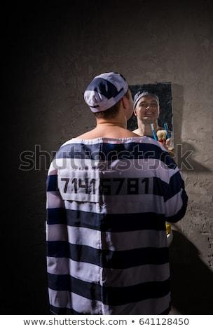 prison · brosse · à · dents · isolé · noir · réflexion · sécurité - photo stock © ralanscott