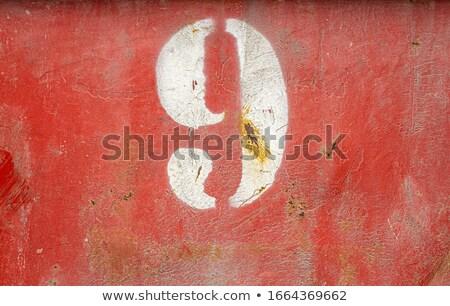 Roestige stencil metaal vat oppervlak verweerde Stockfoto © sirylok