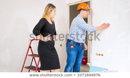Female architect shaking decorator's hand Stock photo © photography33