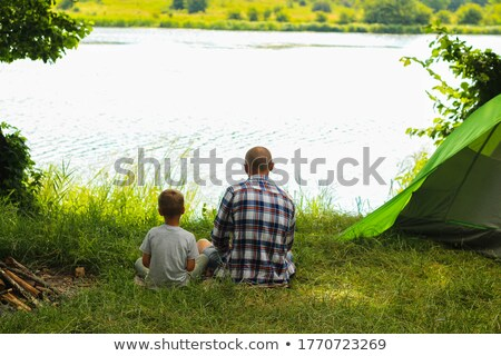 familie · snacks · buiten · tent · camping · boom - stockfoto © photography33