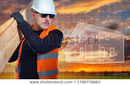 Artesão conselho ombro homem indústria Foto stock © photography33