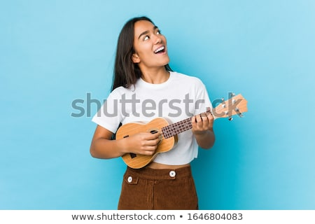 Funny woman with guitar Stock photo © Aikon