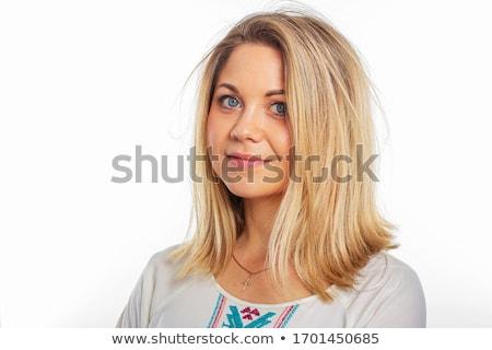 Aantrekkelijk blond vrouw poseren schoonheid witte jurk Stockfoto © Elmiko