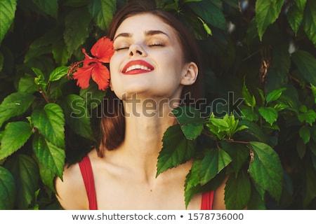Donna tropicali giardino felice vacanze mano Foto d'archivio © Kurhan