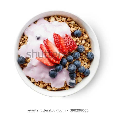 Stock photo: Bowl Of Cereals And Berries Fruits
