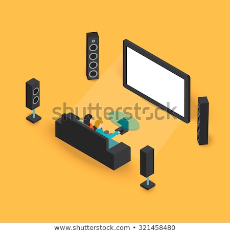 Couple in an empty television screen Stock photo © photography33