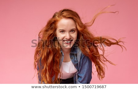 красивая · женщина · долго · вьющиеся · волосы · кавказский · женщину - Сток-фото © stockyimages