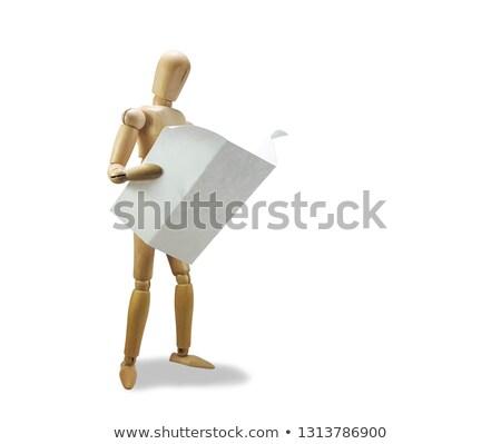 木製 人形 読む 白 紙 ストックフォト © compuinfoto