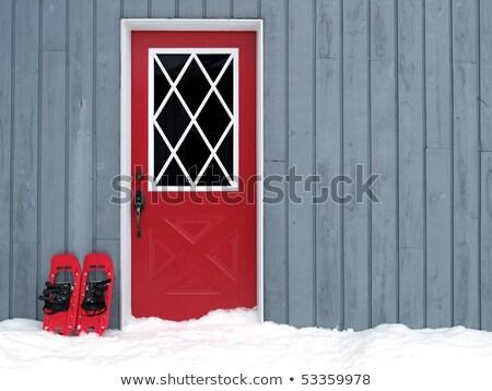 Kırmızı kapı gri duvar Stok fotoğraf © obscura99