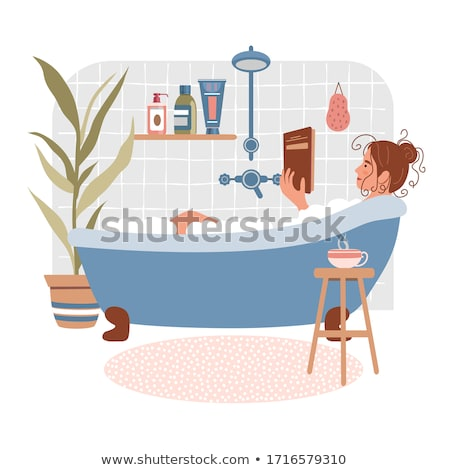 Genç kadın rahatlatıcı okuma kitap banyo mutlu Stok fotoğraf © aetb