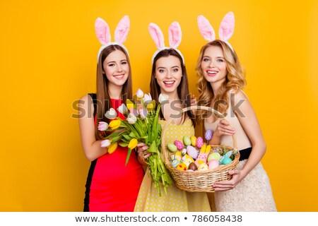Három húsvéti tojások citromsárga tulipánok fehér tavasz Stock fotó © wavebreak_media