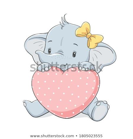 Komik bebek duş karikatür kart eğlence Stok fotoğraf © balasoiu