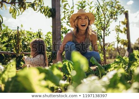 Beautiful girl sitting in her garden and laughting stock photo © travnikovstudio