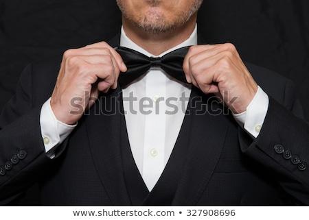 Férfi csokornyakkendő jól kinéző fiatalember visel szemüveg Stock fotó © stryjek