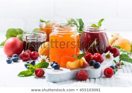 Confiture fruits jar fraîches jardin fleur Photo stock © MKucova