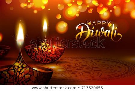 Vector Diwali lamp beautiful rangoli art background Stock photo © bharat