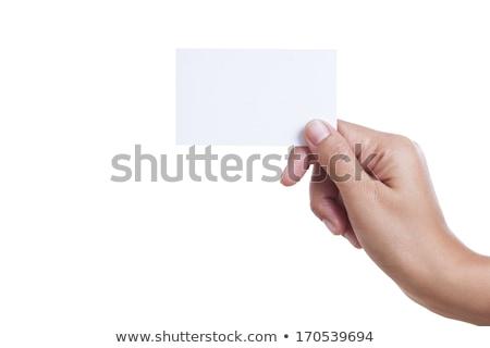 Közelkép kéz magasra tart kártya üzletember űr Stock fotó © oly5