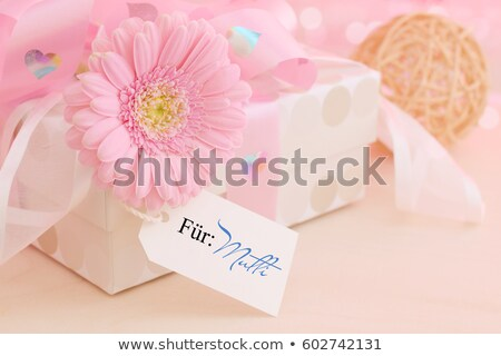 Stock photo: Greeting paper card with flower and ribbon for text second